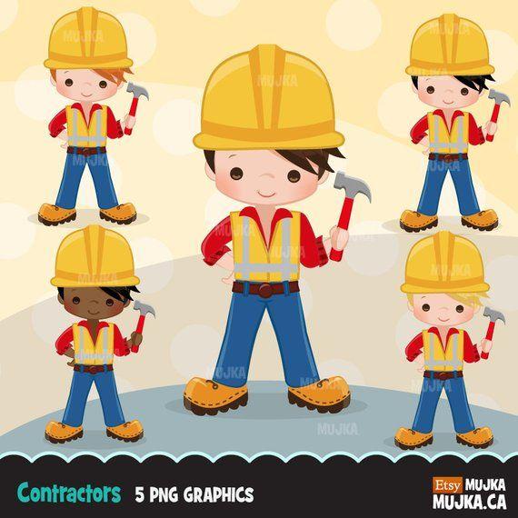 Construction Clipart. Little Boy contractor Graphics, hard.