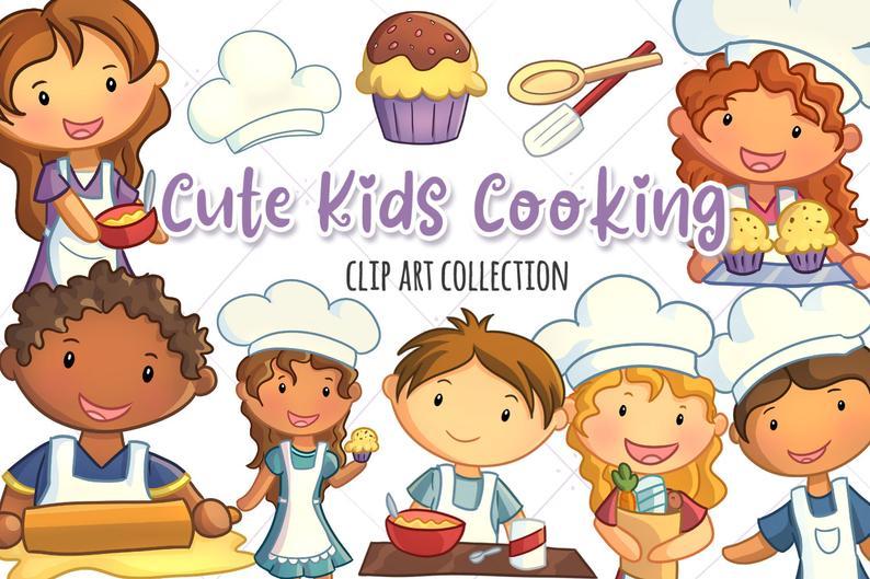 Cute Kids Cooking Clipart Set, Kawaii Kids Baking Clip Art, Kids Making  Cupcakes, Kids with Food, Cooking Clip Art, Cooking Graphics.