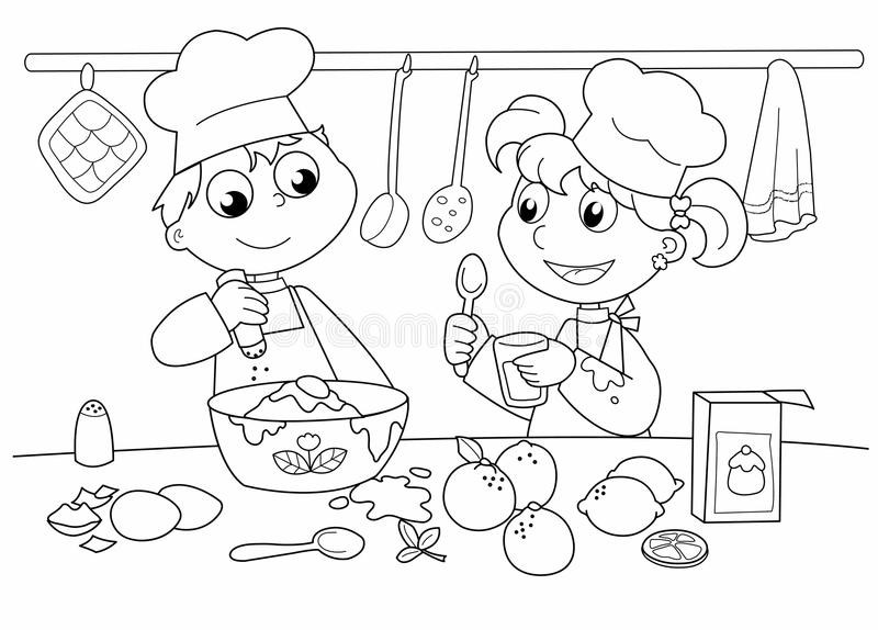 Kids Baking Clipart Black And White.
