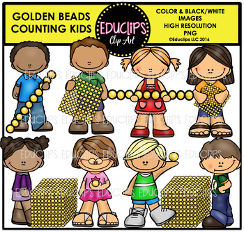 Golden Beads Counting Kids Clip Art Bundle {Educlips Clipart}.