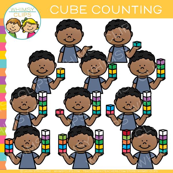 Kids Counting Math Cubes Clip Art.