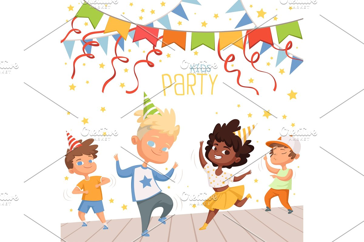 Background illustrations at childrens dance party. Template of poster for  kids invitation.