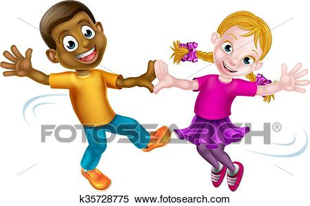 Two Kids Dancing Clipart.