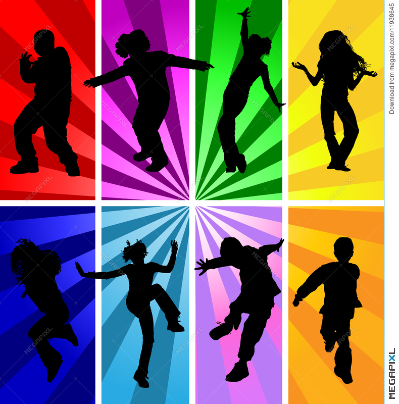 Jumping Kids Jump Silhouettes Silhouette Child Kid Vector.