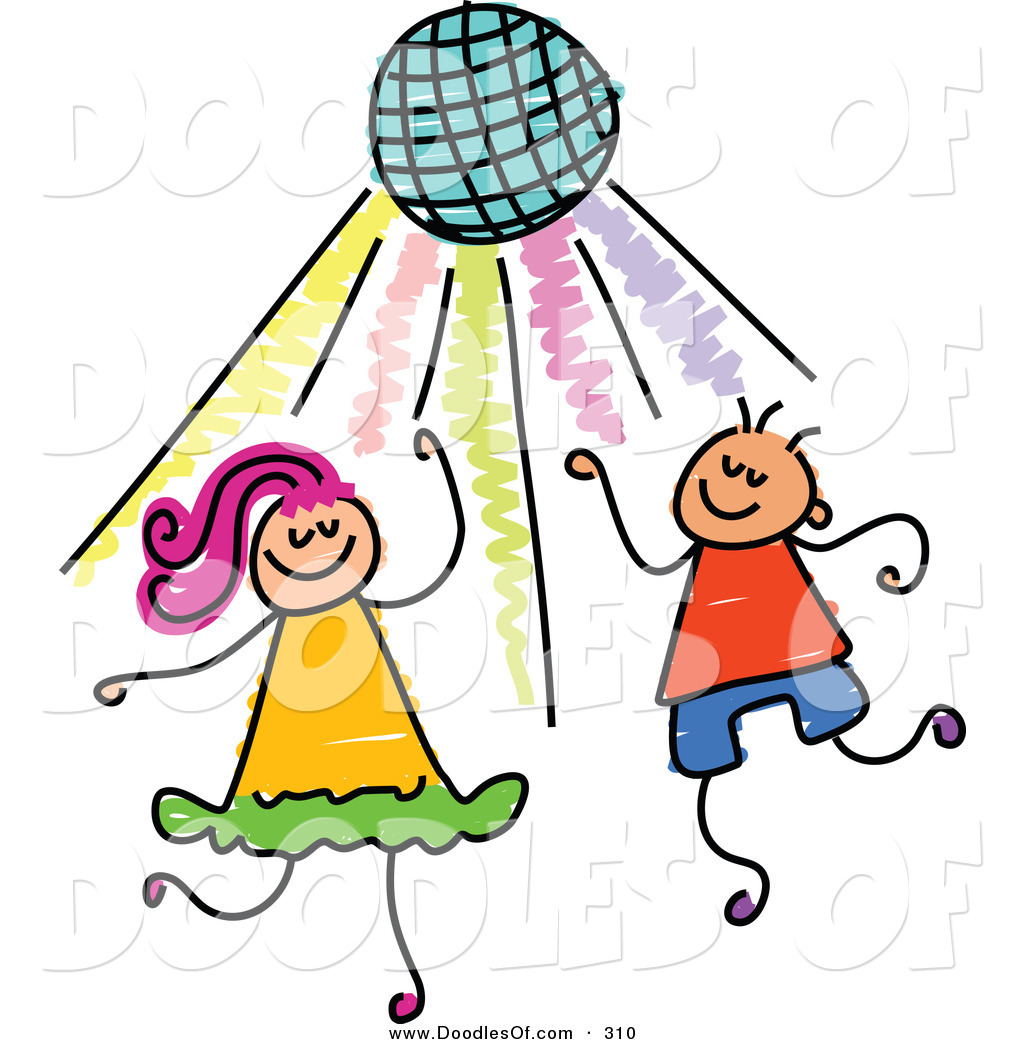 Vector Clipart of a Childs Sketch of Two Kids Dancing Under.