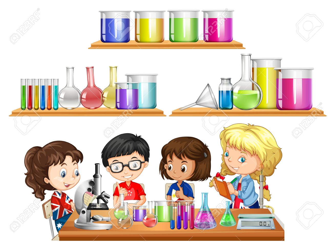 Kids doing science experiment and set of beakers illustration.