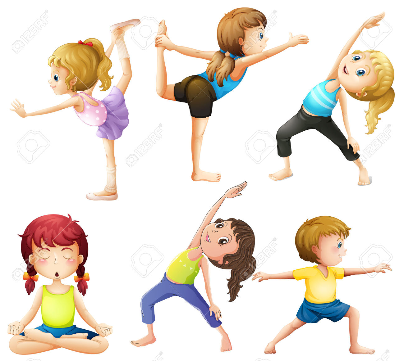 Female Practicing Poses Of Yoga Royalty Free Cliparts, Vectors.