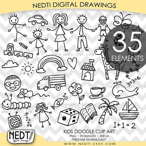 BEST SELLER Kids Doodle Clip Art, Children Clipart, Cute Hand.