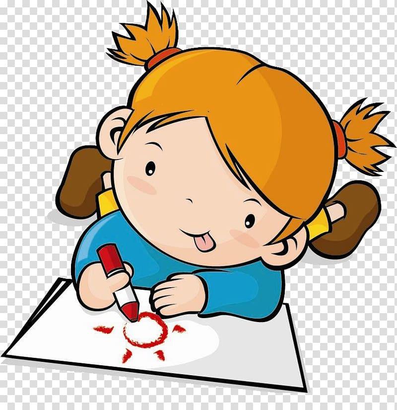 Brown haired girl illustration, Childrens Drawing , Children.