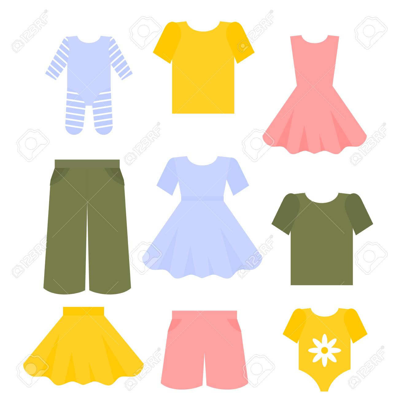 Flat kids clothes set. Children outfit fashion collection. Dress,...