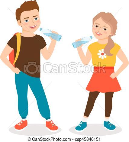 Kids drinking water.