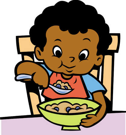 Kids Eating Breakfast Clipart.