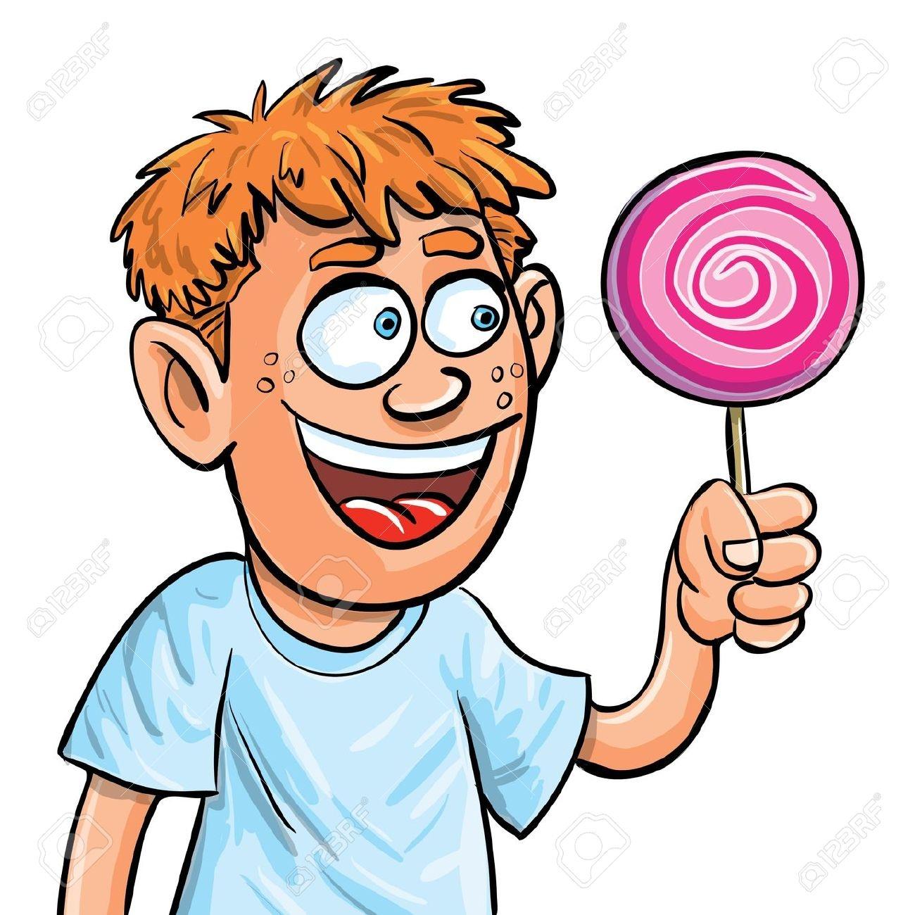 Girl Eating Lollipop Clipart.