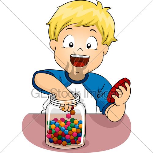 Kid Boy Jar Candies · GL Stock Images.