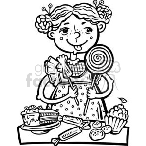 girl eating a lot of candy and snacks clipart. Royalty.