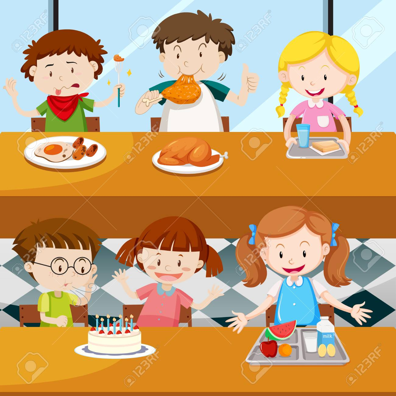 Many kids eating in the canteen illustration..