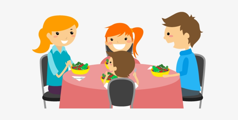 Cartoon Family Of 3 Eating Dinner For Kids.