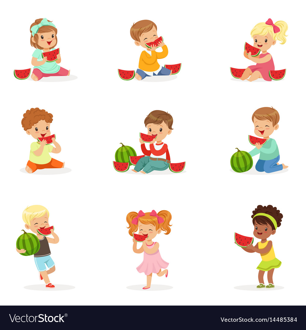 Cute little kids eating watermelon healthy eating.