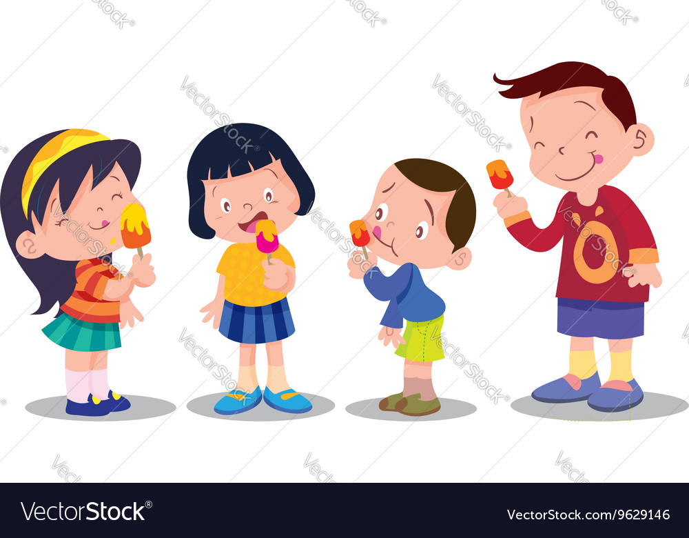 Children eat ice cream.