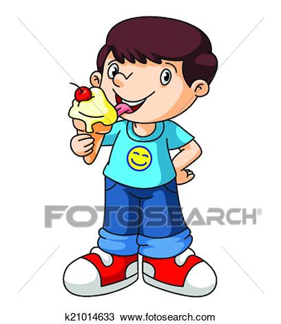 Kids eat ice cream Clipart.