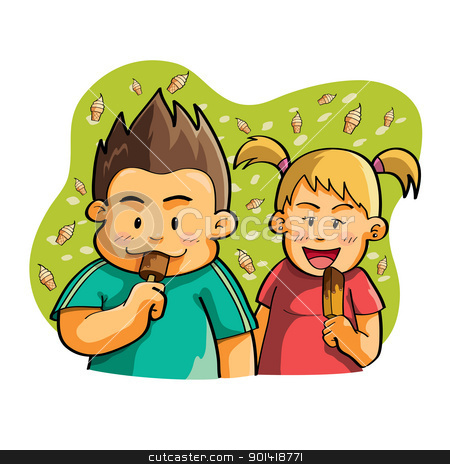 Kids Eating Ice Cream stock vector.