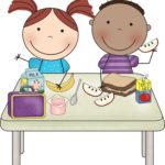 Free Kids Eating Lunch Clipart Image.