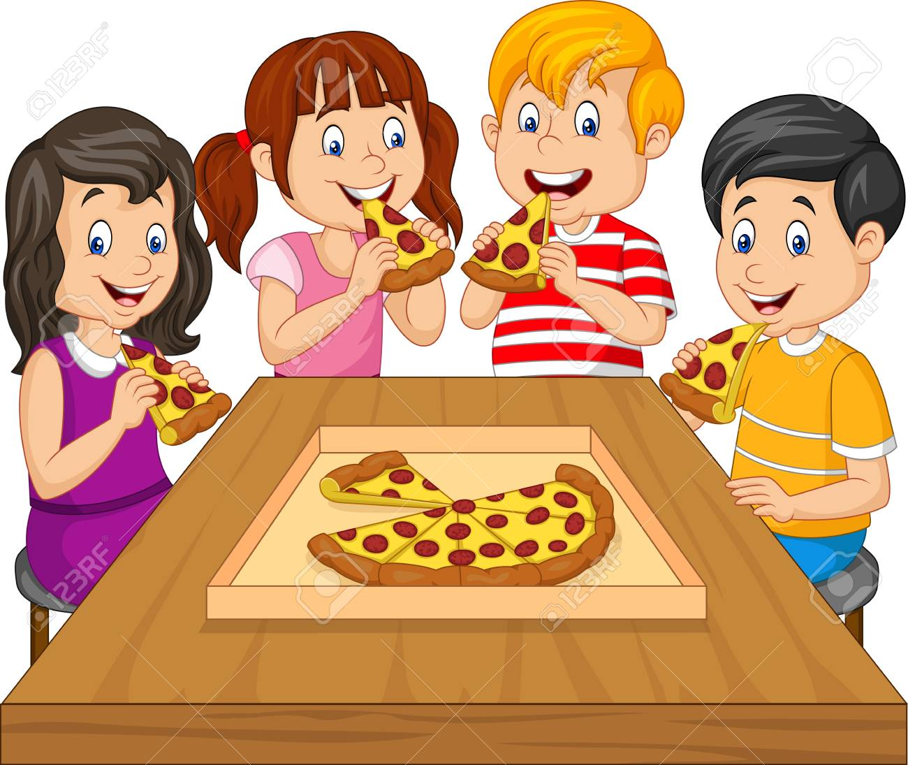 Cartoon kids eating pizza together.