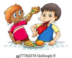 Kids Eating Pizza Clip Art.