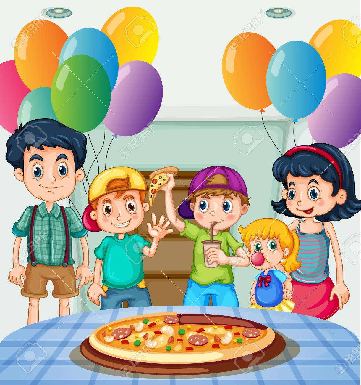 Kids eating pizza at party illustration.