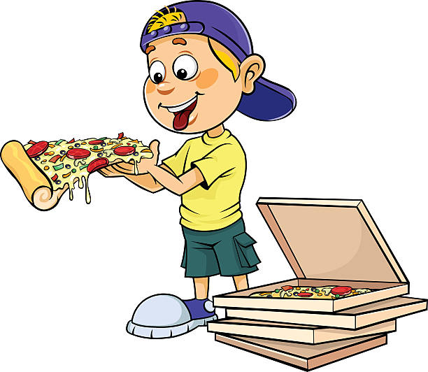 Best Kids Eating Pizza Illustrations, Royalty.