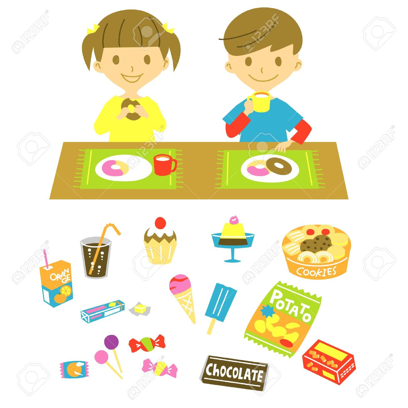 Kids, Have A Snack Royalty Free Cliparts, Vectors, And Stock.