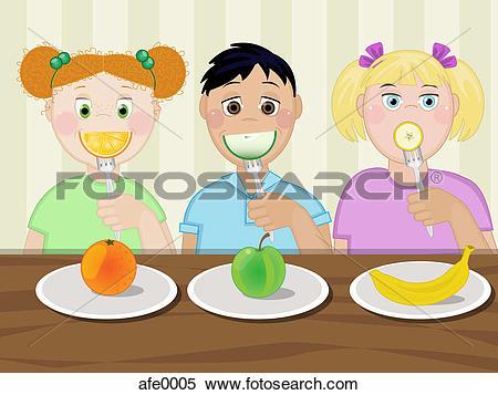 Stock Illustration of Three children eating healthy snacks afe0005.
