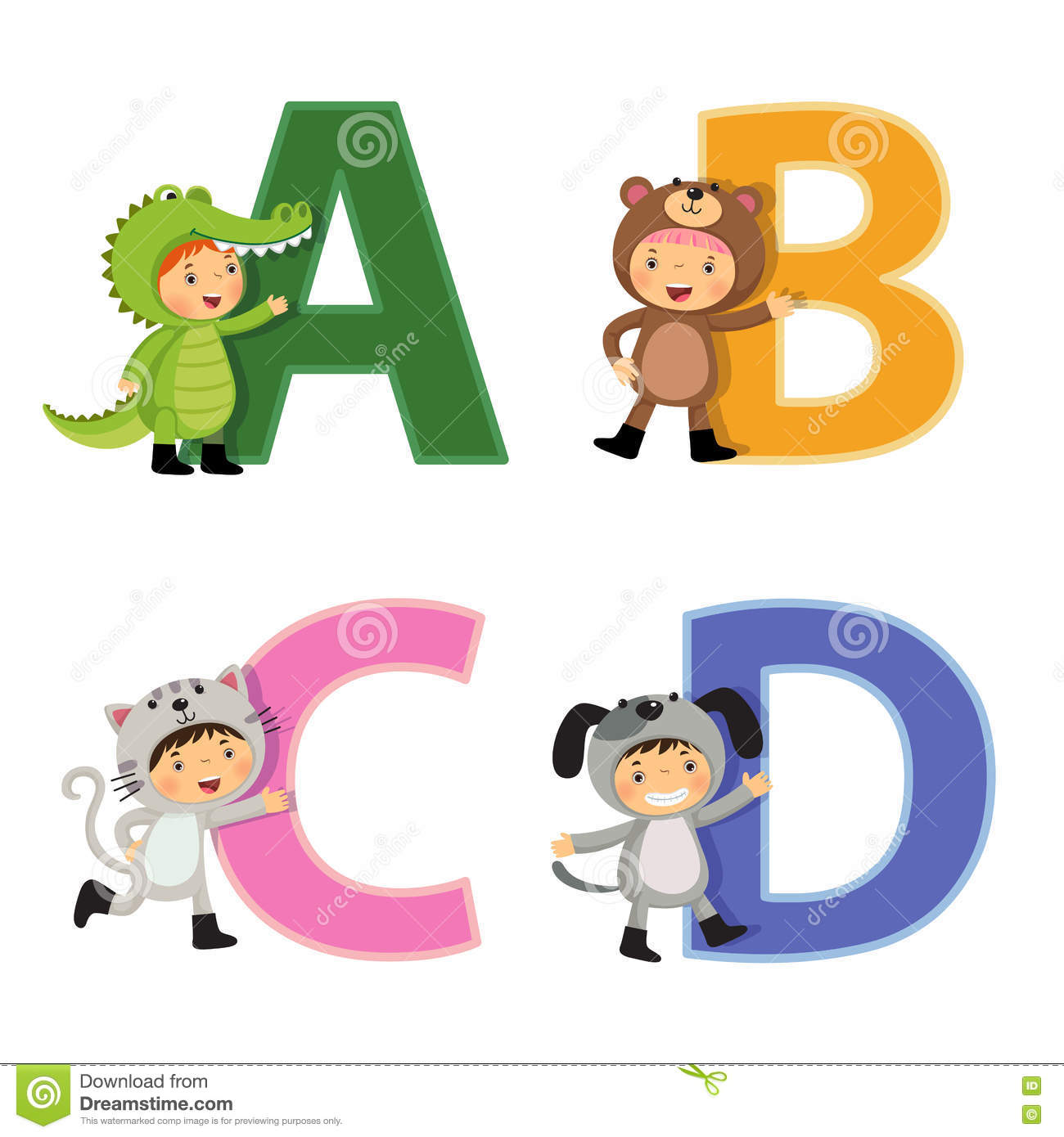English Alphabet With Kids In Animal Costume, A To D Letters Stock.