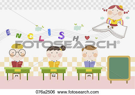Clip Art of illustration of english education with kids 076a2506.