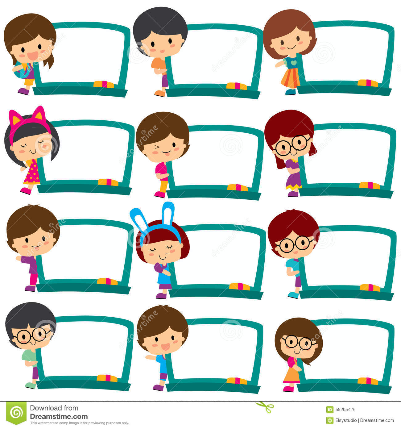 Kids Board Frames Clip Art Set Stock Vector.