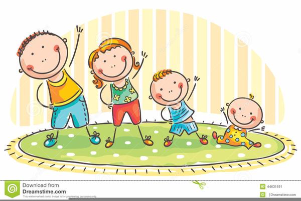 Children Doing Exercise Clipart.