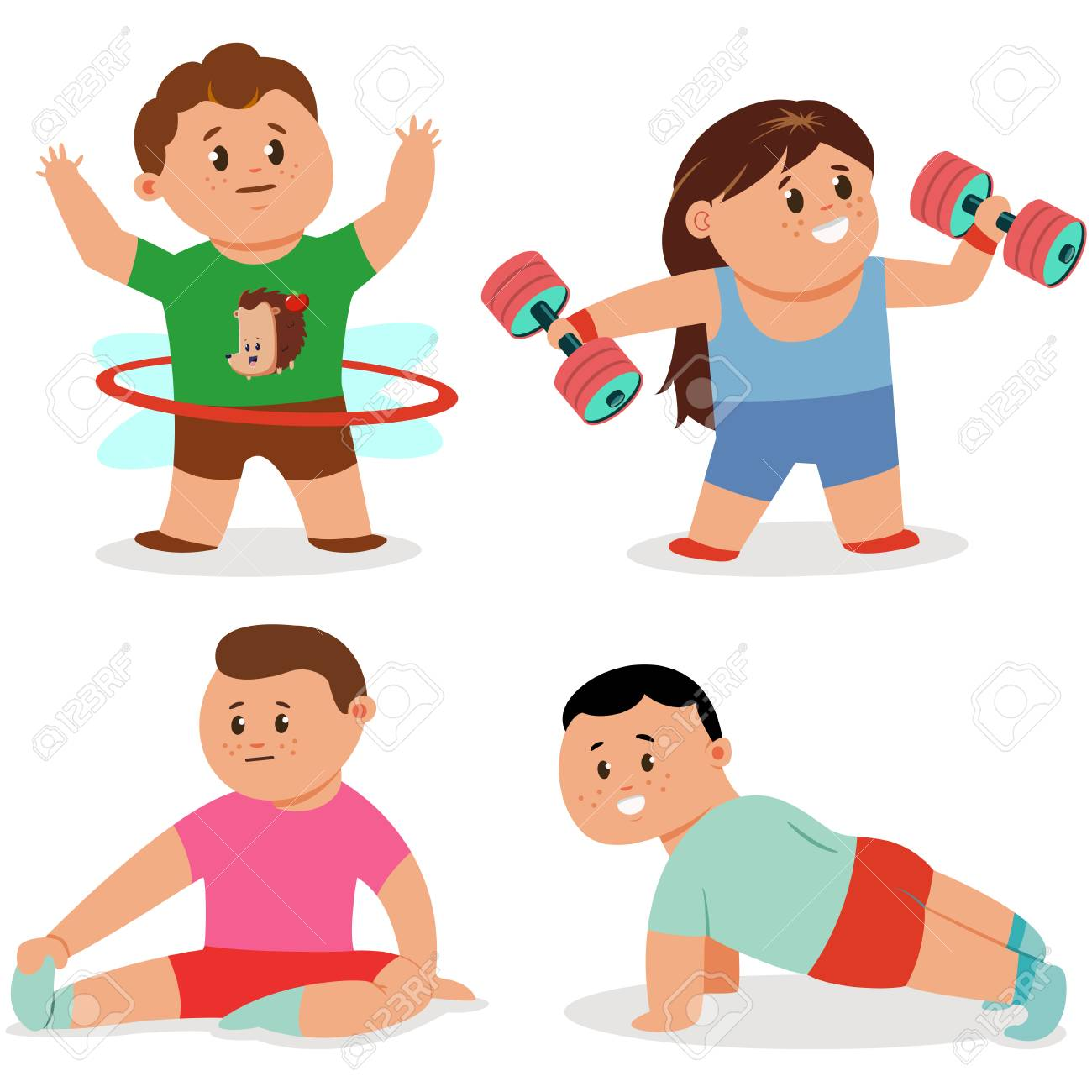 Kids doing fitness exercises. Cute cartoon girl and boy vector...