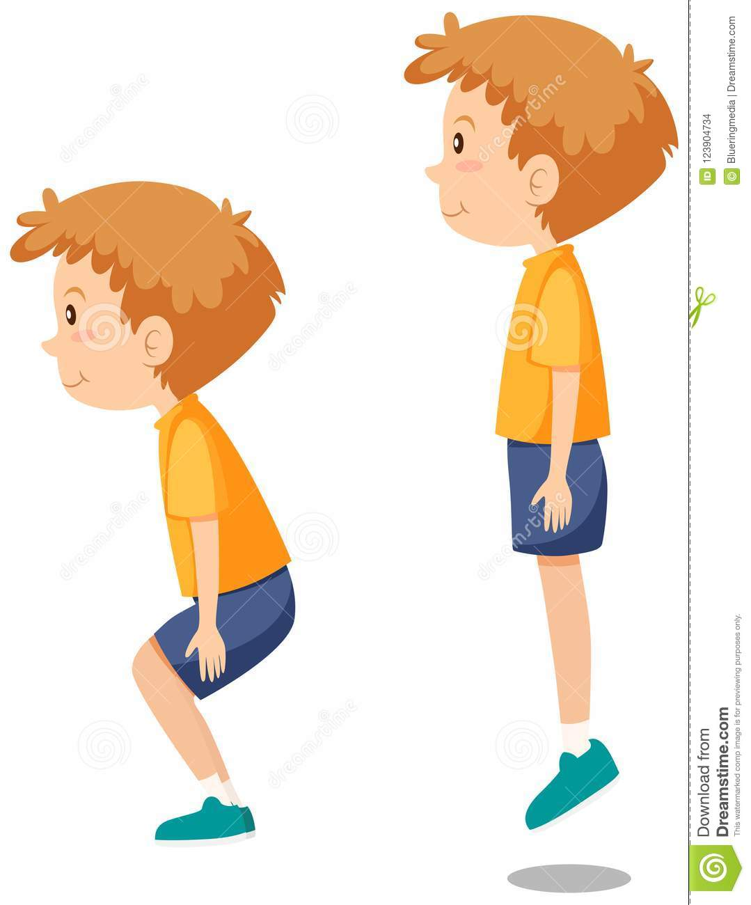 Boy Doing Jumping Exercises Stock Vector.