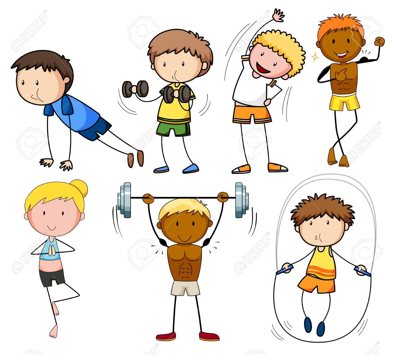 A set of doodle kids exercise illustration.