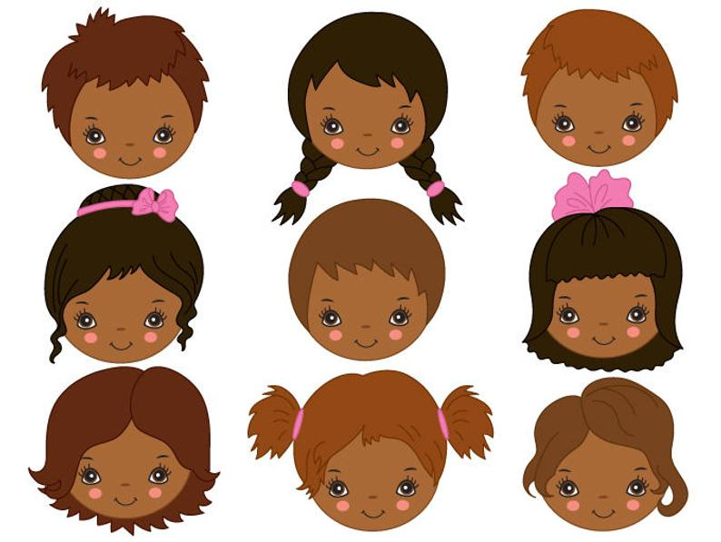 African American Kids Faces Clipart.