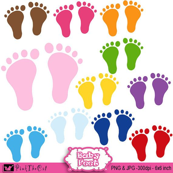 Baby Feet Clipart with Various Colors.