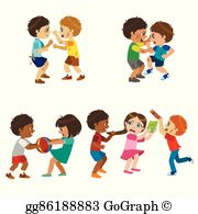 Kids Fighting Clip Art.