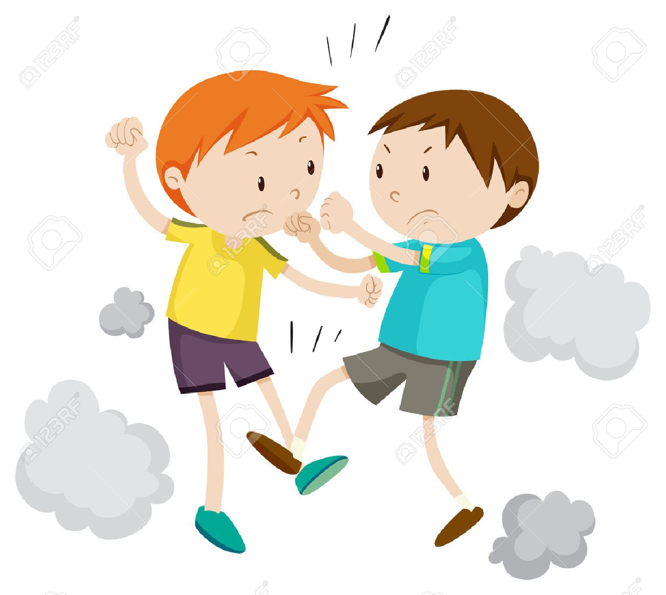 Two boy fighting each other illustration.