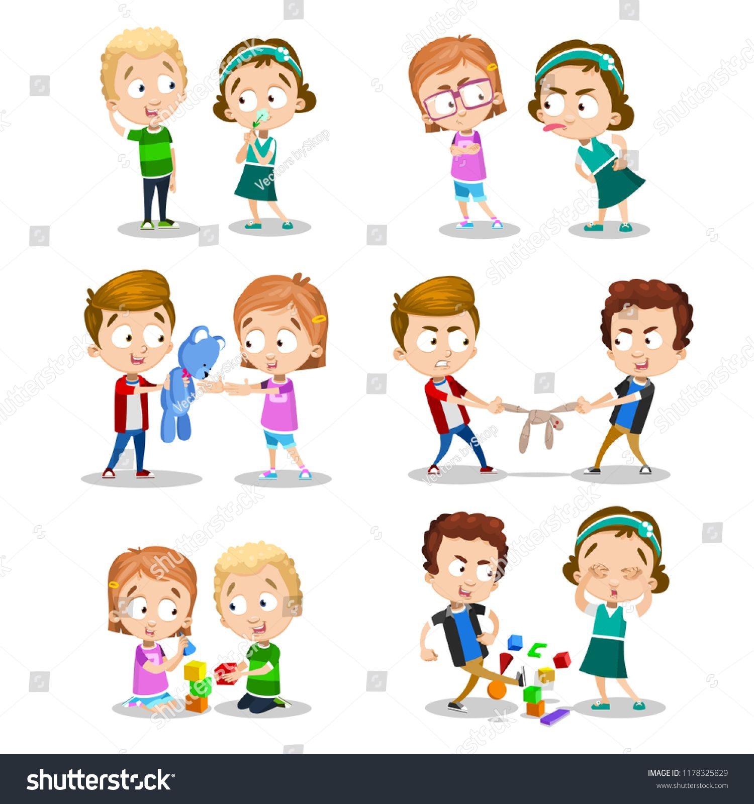 Good and bad behavior of a child. Kids fighting over a toys.