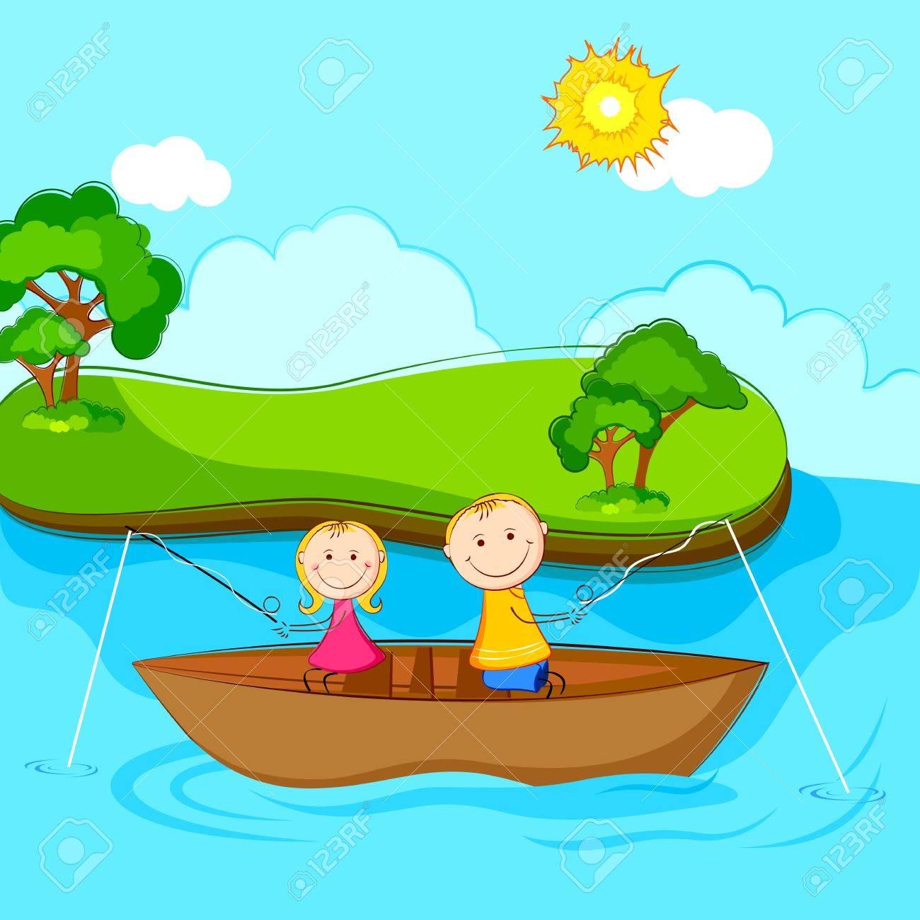 illustration of kids sitting in boat doing fishing.