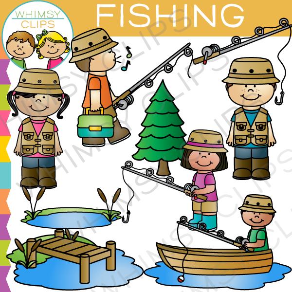 Kids Fishing Clip Art.