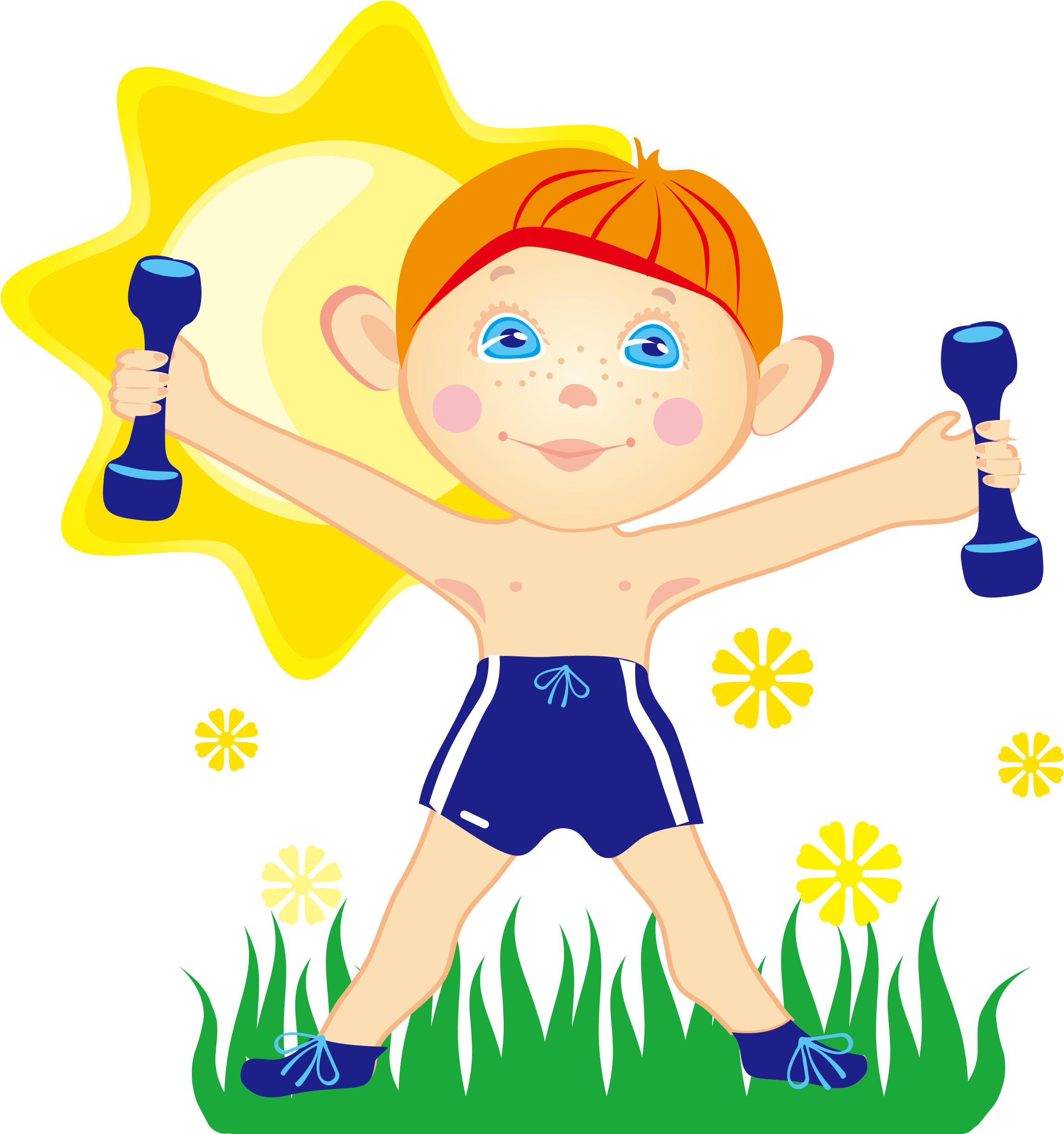 Dumbbells Clipart Kids Fitness.