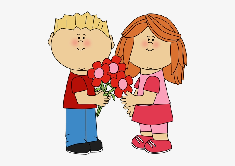 Kids With Valentine\'s Day Flowers Clip Art.