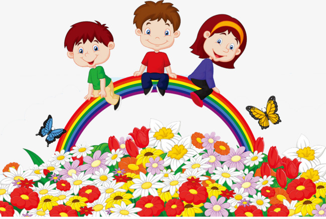 Kids With Flowers Clipart.