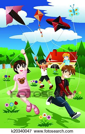 Kids flying kite Clip Art.